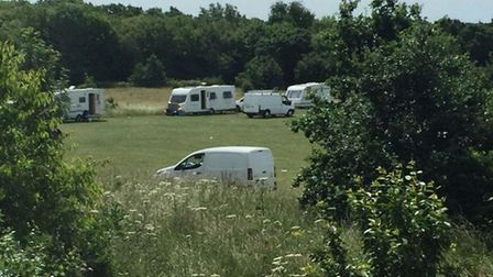 The travellers on the Wheathampstead playing field. Picture: Sarah Myers