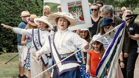 Crowds joined in with the Suffragette march. Picture: Martin Bond