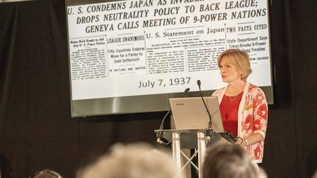 Canadian journalist Ann Macmillan gave a talk with her husband Peter Snow, on War Stories. Picture: