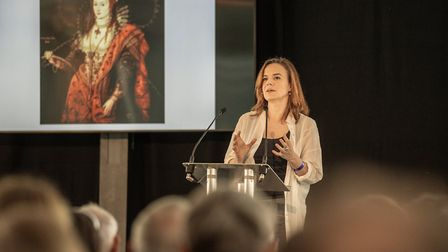 Helen Castor giving a talk on Elizabeth I. Picture: Martin Bond