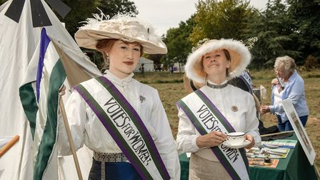 Suffragette re-enactors Sarah-Jane Worrall and Denise Gibbons. Picture: Martin Bond