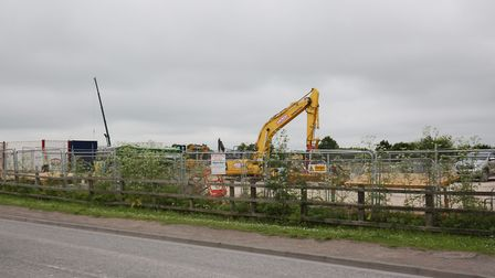 The Aldi and Marks and Spencer foodhalll construction site between York Way and the A505 in Royston.