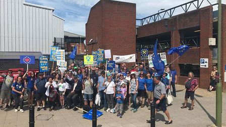 Members of St Albans for Europe outside St Albans City Station before heading to the People's Vote M