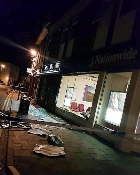 The aftermath of the ramraid at the Nationwide branch in Ramsey.