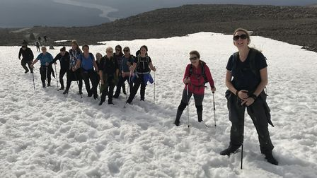 The group climbing Ben Nevis. Picture: Jo Connolly.