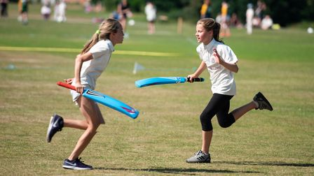 Winning co-captains Abi Wright and Abbie Hitchen snatch a single in the final. Picture: Fiona McCart