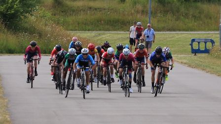 Verulam Reallymoving's Will Smith (fourth from right) leads the sprint at the U14 Cyclopark Youth Su
