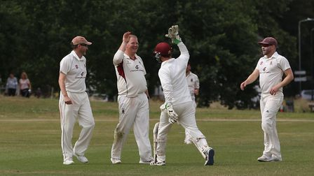 Harpenden celebrate getting the wicket of Knebworth Park's Matt Hutchinson. Picture: DANNY LOO