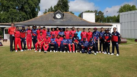 The Norway and Austria teams pictured during their Under 25 series in Huntingdon last week.