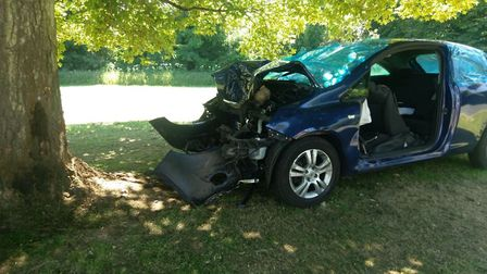 The Vauxhall Corsa on Toulmin Drive. Picture: Beds, Cambs & Herts Roads Policing Unit.