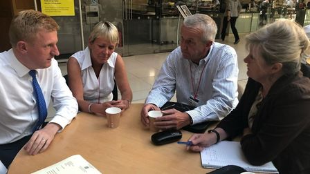 Mr Dowden and Mrs Main meeting with rail freight campaigners.