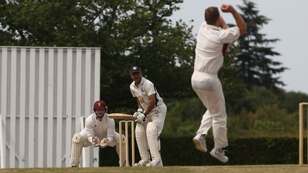 Radlett's Fakir Dungaria faces a delivery from Harpenden's Ben Clements in the match between Radlett
