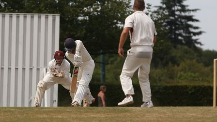Radlett's Charlie Nicholls faces a delivery from Harpenden's Ben Clements in the match between Radle