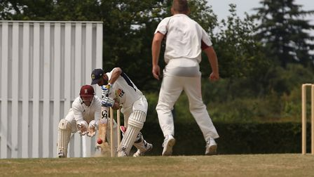 Radlett's Azhar Niyazahmad faces a delivery from Harpenden's Ben Clements in the match between Radle
