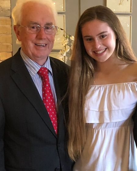 Eilidh Dunwoodie, 14, pictured with her grandfather, who made a full recovery from a heart attack he