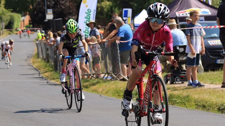 Verulam Reallymoving's Tyler Six races in the U10 event at Redbourn's Fete du Velo.