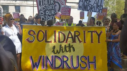 Campaigners at an event organised by Stand up to Racism in solidarity with the Windrush generation a