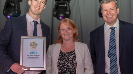 Sam Head and Anna Mapley, Innovation or Product of the year, presented by Director Stephen Bremner o