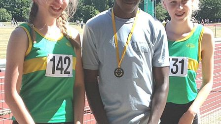 Hunts AC medal-winners at the Eastern Counties Championships from the left, Ella Reed, Ayo Opaleye a