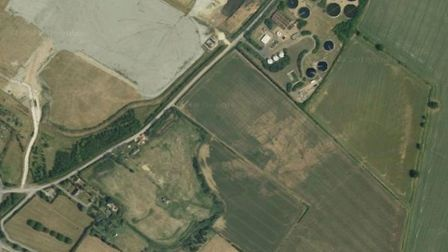 The site of the proposed giant glasshouse between the sewage works and the A14 at Godmanchester