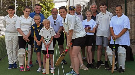 Charlotte Edwards at the opening of the new nets at Bluntisham Cricket Club.