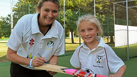 Charlotte Edwards at the opening of the nets in Bluntisham with Jessica Lawrence.