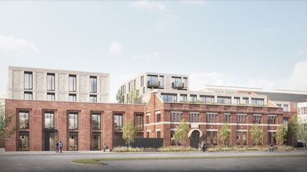 CGI of the residential entrance on Campfield Road, as seen from the east approach