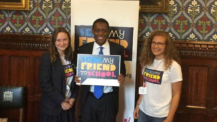 Katie Sutton and Amelia Bird from Sir John Lawes School with Harpenden MP Bim Afolami at the Make Sc