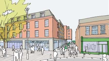 View of the new hotel and retail units looking towards public accessway to Drovers Way. Picture: Ree