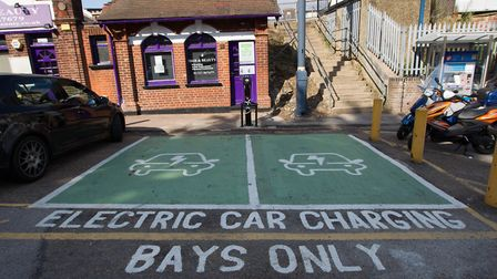 Two electric car charging points at St Albans station