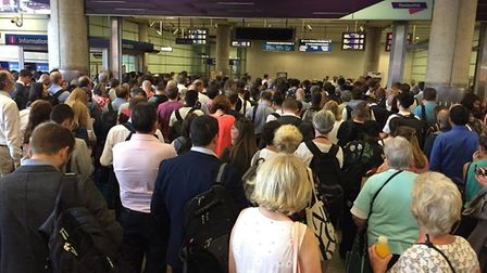 Passengers queueing to board Thameslink trains at St Pancras. Picture printed with permission of Joa