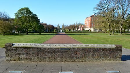 The dedication to Louis de Soissons, the architect who designed Welwyn Garden City. The view is look