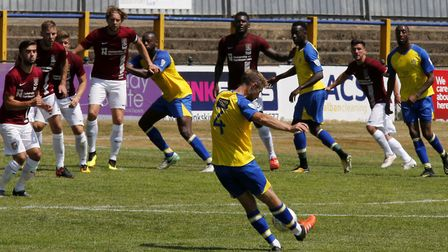 David Noble tries his luck with a free-kick as St Albans City took on Northampton Town in a pre-seas