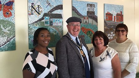 Sana Gabroel, project officer from HDC with the mayor of St Ives Councillor Tim Drye, Councillor Ang