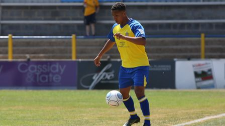 Zane Banton of St Albans on the ball in the pre-season friendly match between St Albans City and Nor