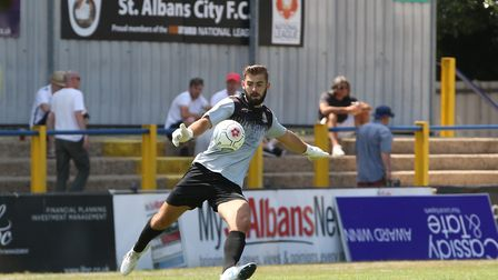 Dean Snedker of St Albans in the pre-season friendly match between St Albans City and Northampton To