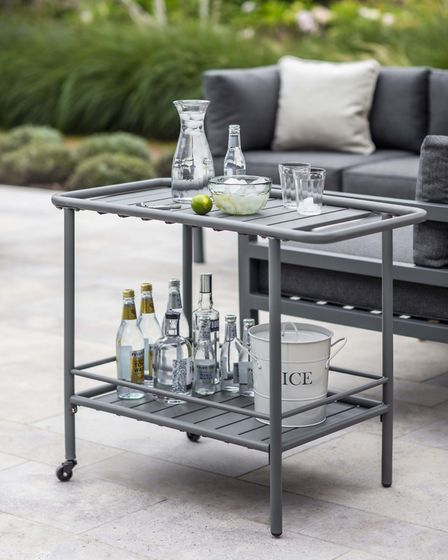 Drinks trolley: Crafted in durable power-coated steel, it''s finished in matt charcoal. £95, www.gar
