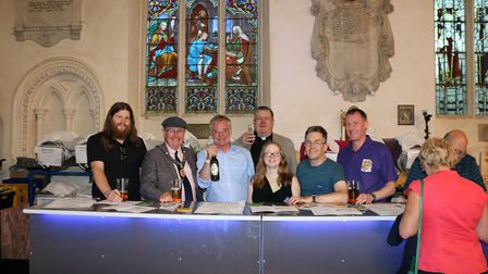 The mayor of St Ives, Councillor Tim Drye (second from left) at the beer festival. Picture: CONTRIBU