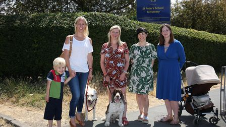 The Parent action group for permanent expansion in St Albans (L-R) Sophie Ashcroft and Xander, 4, Th