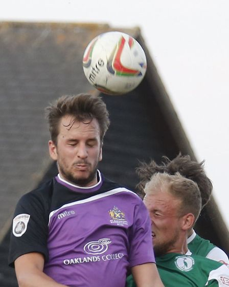Sam Merson in action for St Albans City against Biggleswade Town. Picture: Leigh Page