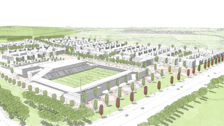 An artist's impression of St Albans City Football Club's proposed Noke Lane Community Stadium and ho