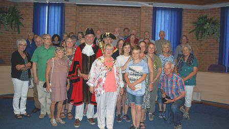 Mayor cllr Rosemary Farmer with members of the delegation and the St Albans Worms partnership.