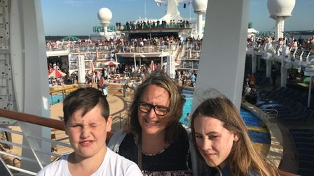 Lysa Kemp with son Kai and daughter Carys. Picture: Courtesy of Stuart Kemp