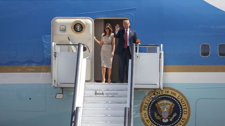 President Trump arrives at Stansted Airport with wife Melania. Picture: CELIA BARTLETT PHOTOGRAPHY