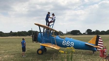 Laura Holt-Thomas preparing for her wing walk. Picture: Red Door Recruitment