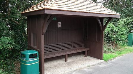 A bus shelter.