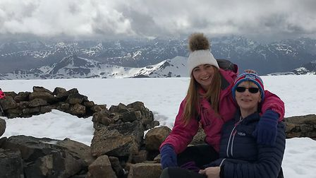 Von ahd her daughter at the top of Ben Nevis doing a training climb
