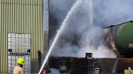Multiple fire crews attended the scene of a fire around a tanker in North Hall Farm in Flint Cross.