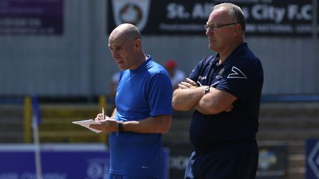 Glen Alzapiedi and Ian Allinson watch on as St Albans City hosted Northampton Town in a pre-season f