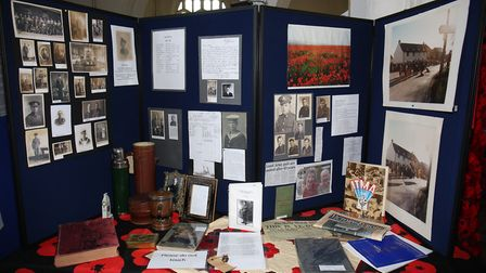 The Steeple Morden 100 years exhibition on display at Church of St. Peter and St. Paul, Steeple Mord